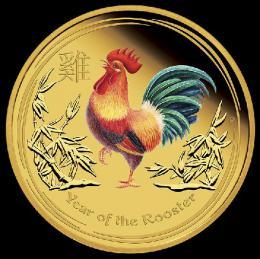 Zlatá kolorovaná mince Rok Kohouta 2017