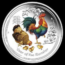 Rok Kohouta 2017 kolorovaná uncová mince ražená do ryzího støíbra