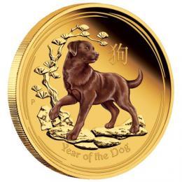 Rok psa kolorovaná unce - ryzí zlato
