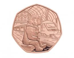 2018 PADDINGTON BEAR 60. ANN. -TRAIN 50P GOLD PROOF COIN BOX + COA - zvìtšit obrázek