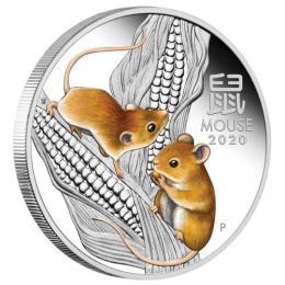 Støíbrná mince Australian Lunar Series III 2020 Year of the Mouse 1oz Silver Proof Coloured Coin