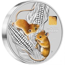 Støíbrná mince Australian Lunar Series III 2020 Year of the Mouse 1kg Silver Proof Coloured Coin