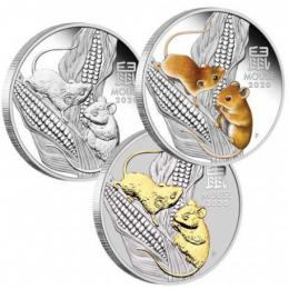 Støíbrné mince MOUSE Lunar Year Series III Set 3x1 Oz Silver Coin 1$ Australia 2020