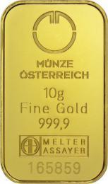 Münze Österreich Goldbarren 10 g - Kinegram - zvìtšit obrázek