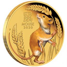 Zlatá mince Australian Lunar Coin Series III 2020 Year of the Mouse 1oz Gold Proof Coloured Coin