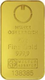 Münze Österreich Goldbarren 20 g - zvìtšit obrázek