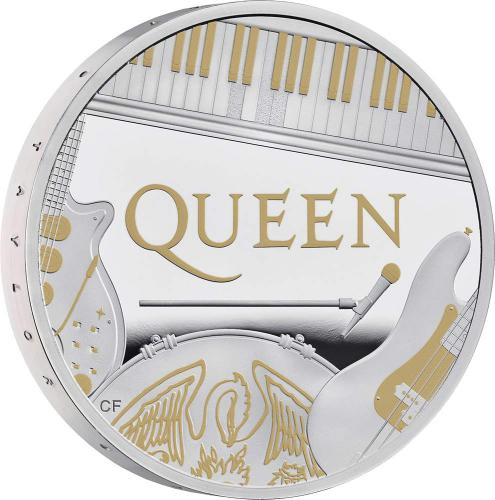 Støíbrná mince QUEEN Music Legends 1 Oz Silver Coin  proof 2 Pounds United Kingdom 2020