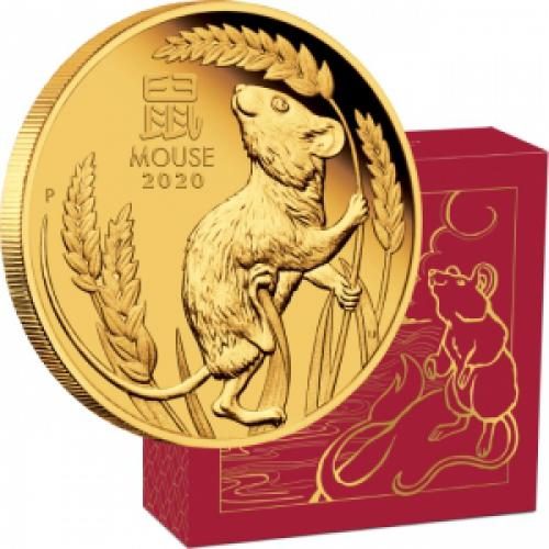 Zlatá mince Australian Lunar Series III 2020 Year of the Mouse 1/4 oz Gold Proof Coin