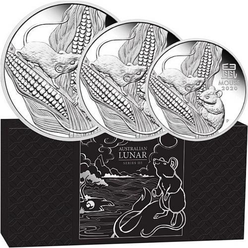 AUSTRALIAN LUNAR SERIES III – 2020 THREE COIN (2OZ, 1OZ, 1/2OZ) PURE SILVER PROOF COIN SET – P