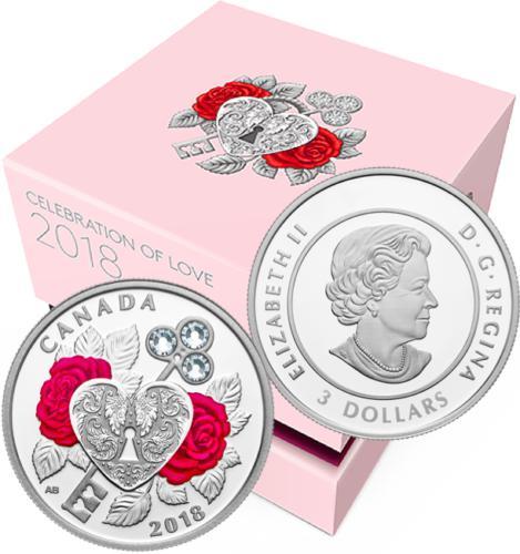 3 Dollar Støíbrná mince Svátek lásky PP