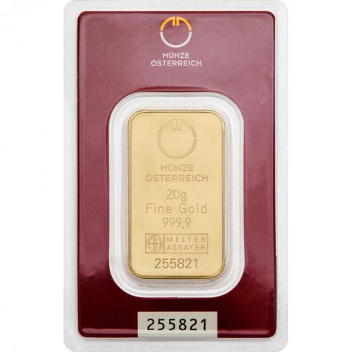 Münze Österreich Goldbarren 20 g