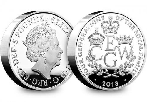 Four Generations of Royalty 2018 UK 5£ Silver Proof