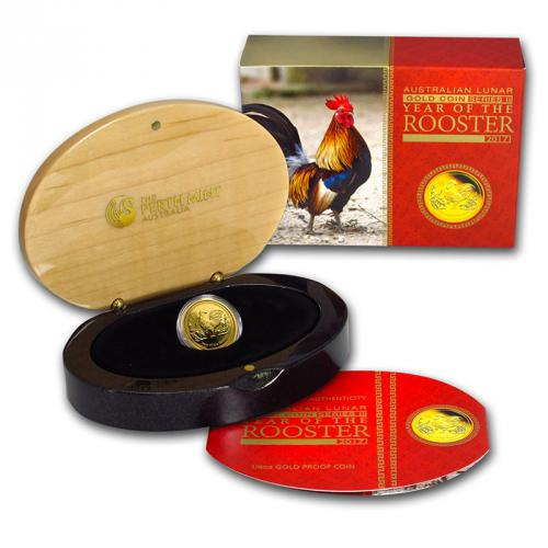 Australian Lunar Series II 2017 Year of the Rooster 1/4 Gold Proof Coins