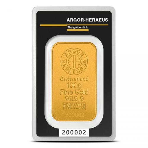 Zlatý slitek 100g  Argor-Heraeus