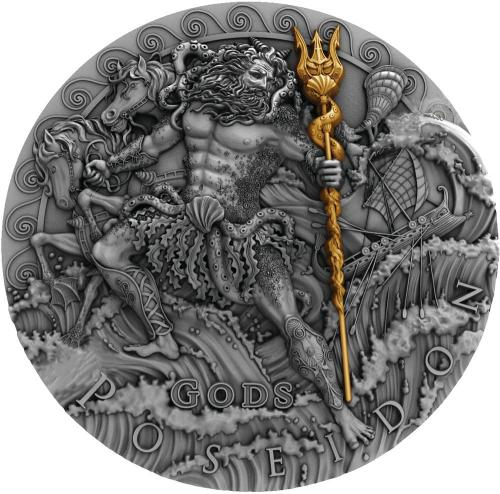 POSEIDON - BÙH MOØÍ , POSEIDON GOD OF THE SEA GODS 2 OZ SILVER COIN 2$ NIUE 2018