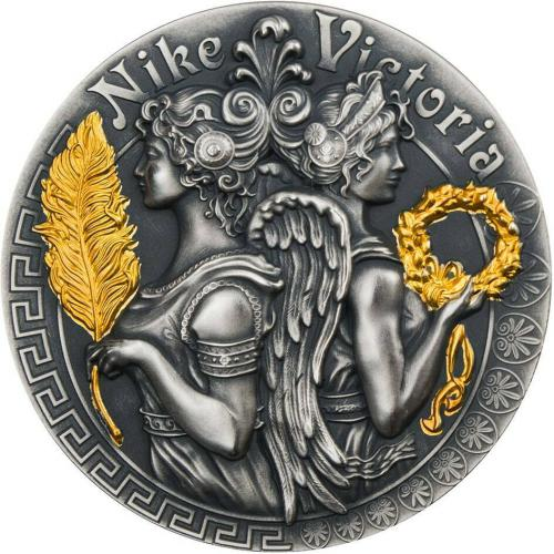 VICTORIA & NIKE Strong and Beautiful Goddesses 2 Oz Silver Coin 5$ 2018