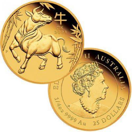 GOLD Australian Lunar Series III 2021 Year of the Ox 1/4 oz Proof