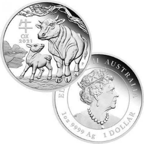 Australian Lunar Series III 2021 Year of the Ox 1 oz Silver Proof