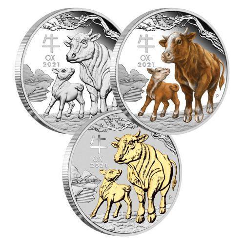 Støíbrné mince Ox Lunar Year Series III Set 3x1 Oz Silver Coin 1$ Australia 2021