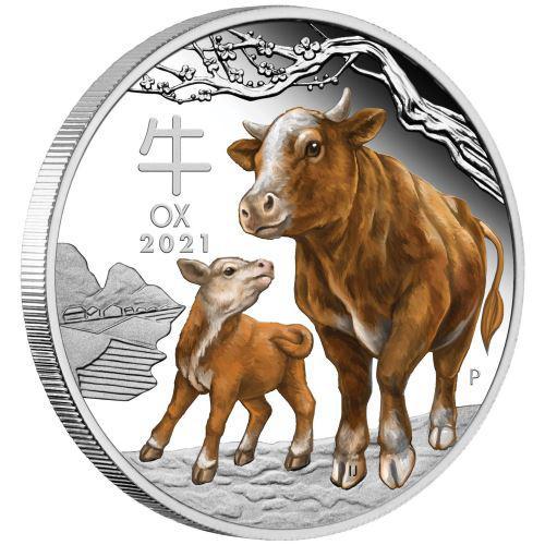 Støíbrná mince Australian Lunar Series III 2021 Year of the Ox 1oz Silver Proof Coloured Coin