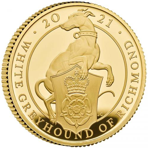 The Queen Beasts White Greyhound of Richmond 1/4 OZ Au Proof coin