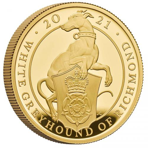 The Queen Beasts White Greyhound of Richmond 1 OZ Au Proof coin