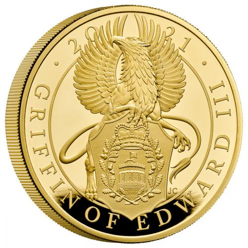 The Queens Beast - The Griffin of Edward III 5 Oz proof coin gold