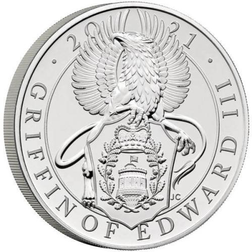 The Queens Beast - The Griffin of Edward III 5 Oz proof coin  silver