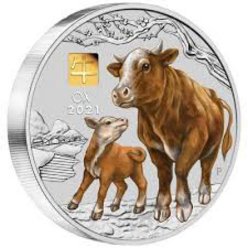 Year of the OX Australian Lunar series  1 kilo silver proof coloured