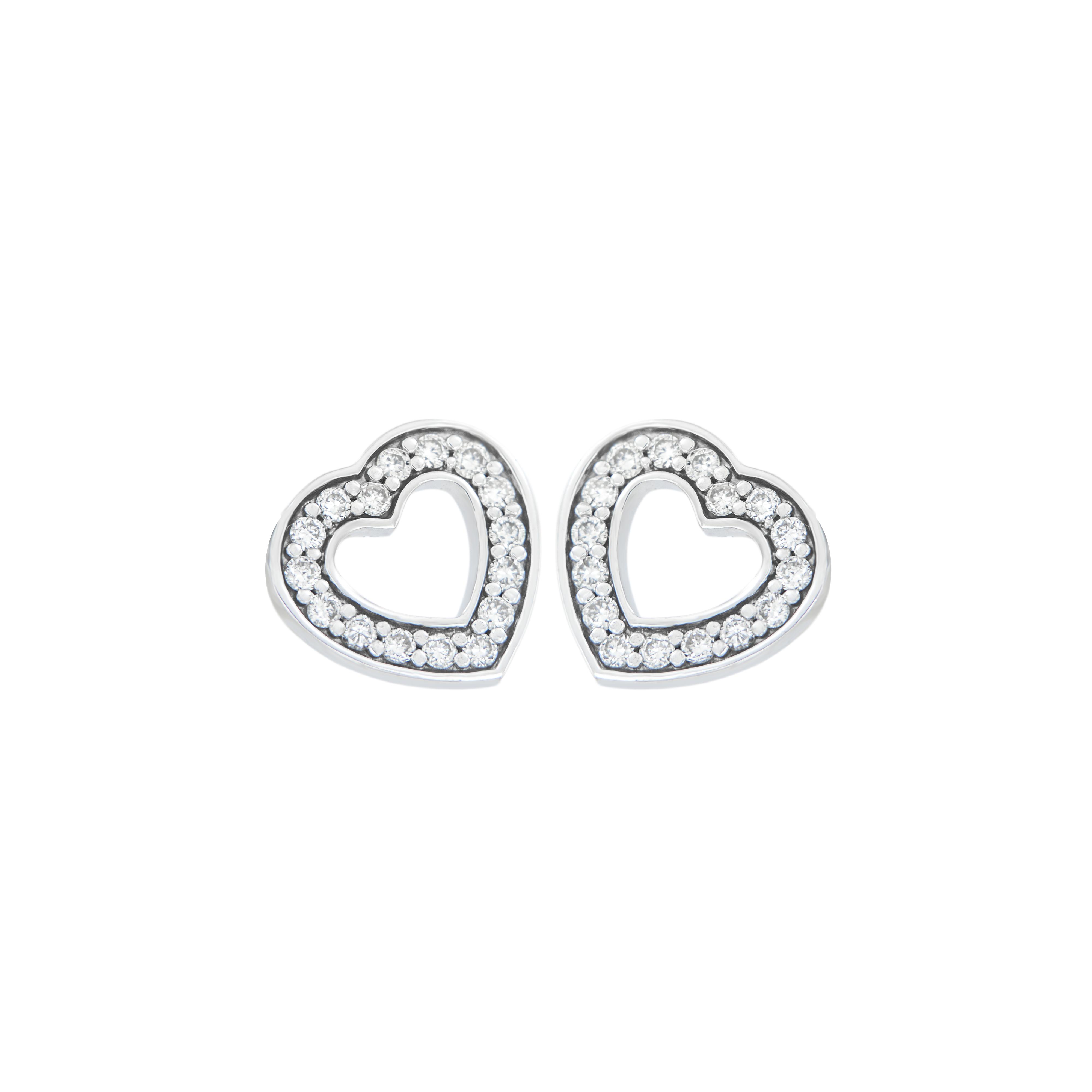 Naušnice LOVE ve tvaru srdce jsou vyrobeny z bílého  14 karátového zlata - zvìtšit obrázek