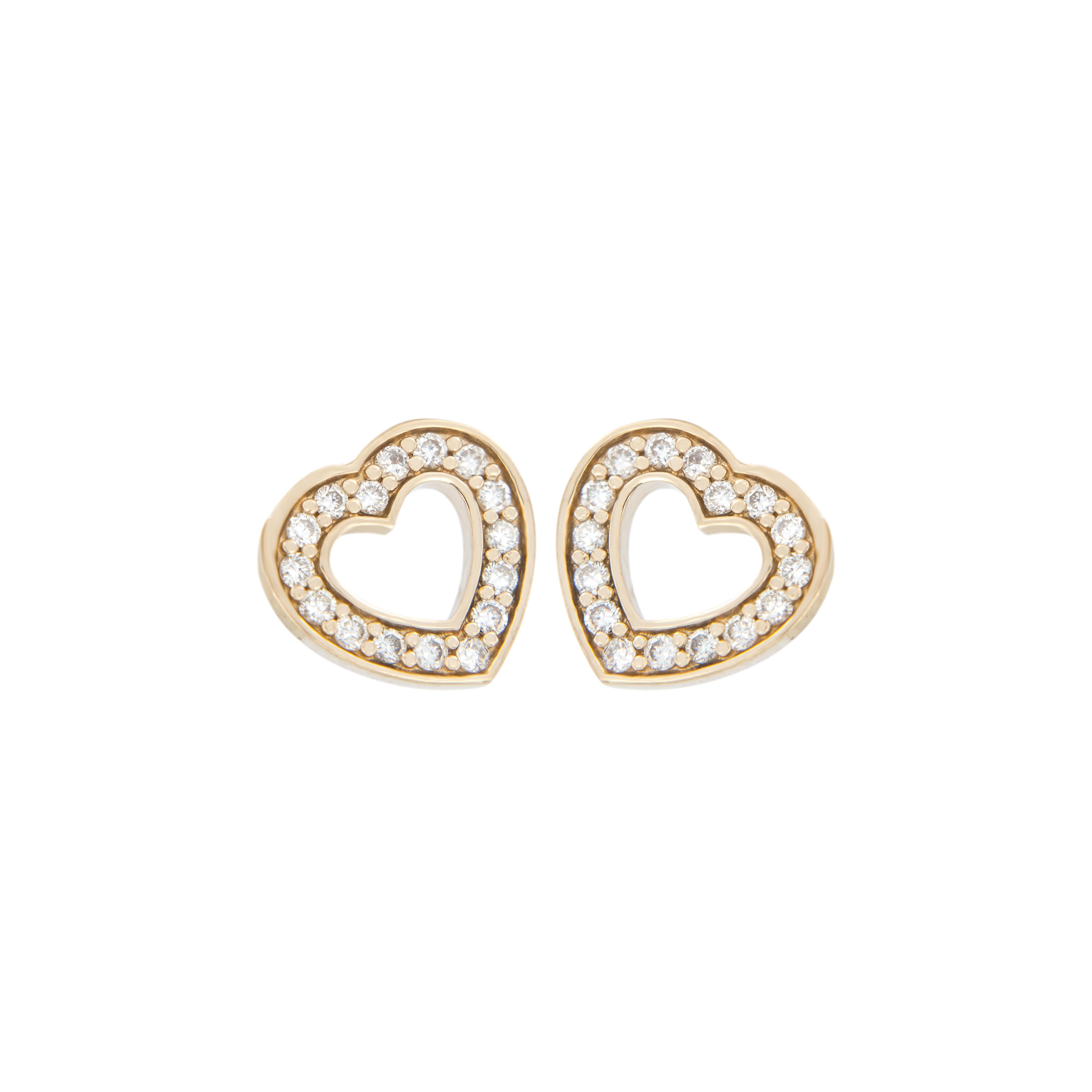Naušnice LOVE ve tvaru srdce jsou vyrobeny ze žlutého 14 karátového zlata - zvìtšit obrázek