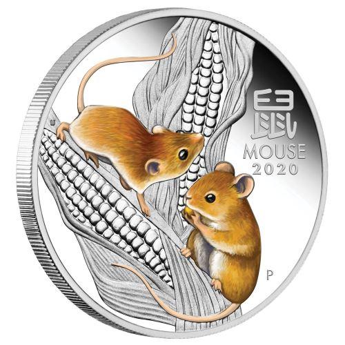 Støíbrná mince Australian Lunar Series III 2020 Year of the Mouse 1oz Silver Proof Coloured Coin - zvìtšit obrázek