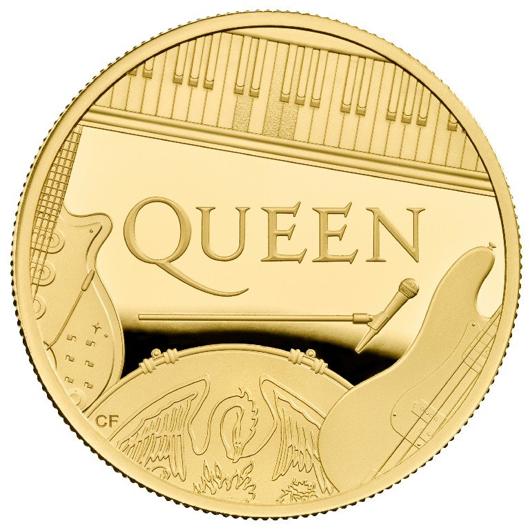 QUEEN Music Legends 1 Oz Gold Coin Proof 100 Pounds United Kingdom 2020 - zvìtšit obrázek