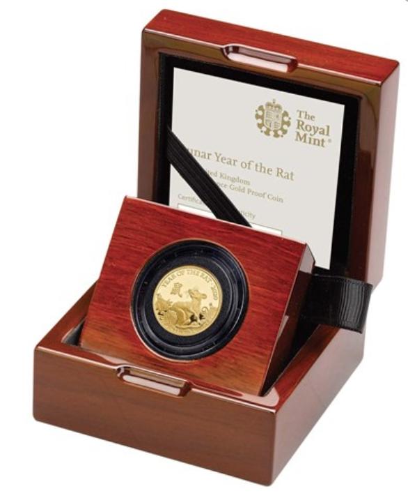Lunar Year of the Rat 2020 United Kingdom Quarter-Ounce Gold Proof Coin - zvìtšit obrázek