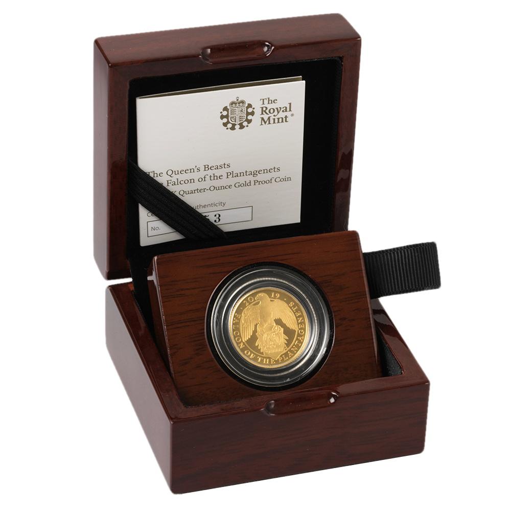 The Falcon of the Plantagenets 2019 UK Quarter-Ounce Gold Proof - zvìtšit obrázek