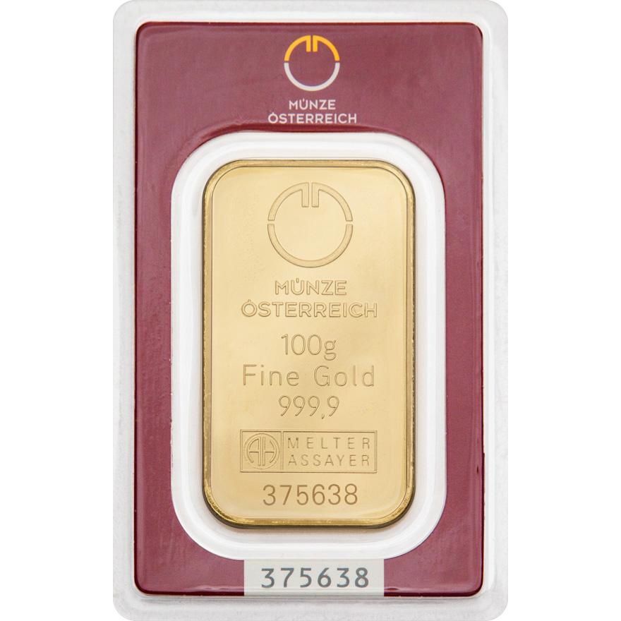 Münze Österreich Goldbarren 100 g - zvìtšit obrázek