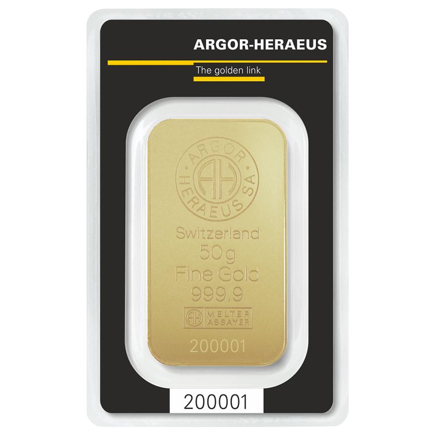 Zlatý slitek 50g Argor-Heraeus  - zvìtšit obrázek