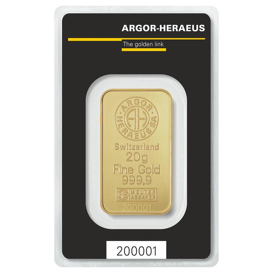 Zlatý slitek 20g Argor-Heraeus  - zvìtšit obrázek