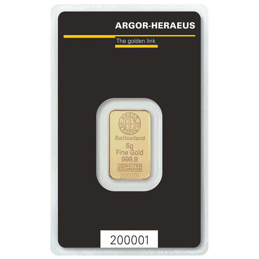 Zlatý slitek 5g Argor-Heraeus  - zvìtšit obrázek