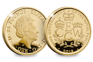 Four Generations of Royalty 2018 UK Gold Quarter-Ounce Coin - zvìtšit obrázek