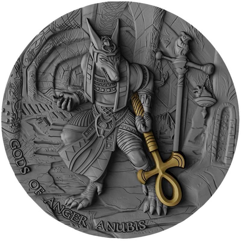 ANUBIS - BÙH HNEVU, ANUBIS GODS OF ANGER 2 OZ SILVER COIN 5$ NIUE 2019 - zvìtšit obrázek