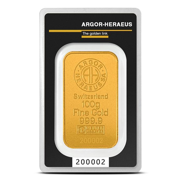 Zlatý slitek 100g  Argor-Heraeus - zvìtšit obrázek