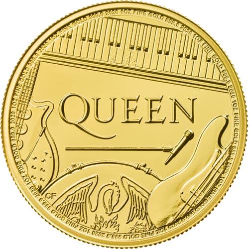 QUEEN Music Legends 1 Oz Gold Coin BU United Kingdom 2020 - zvìtšit obrázek