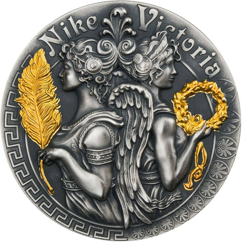 VICTORIA & NIKE Strong and Beautiful Goddesses 2 Oz Silver Coin 5$ 2018 - zvìtšit obrázek
