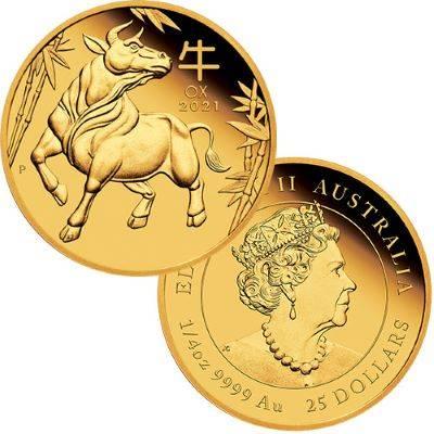 GOLD Australian Lunar Series III 2021 Year of the Ox 1/4 oz Proof - zvìtšit obrázek