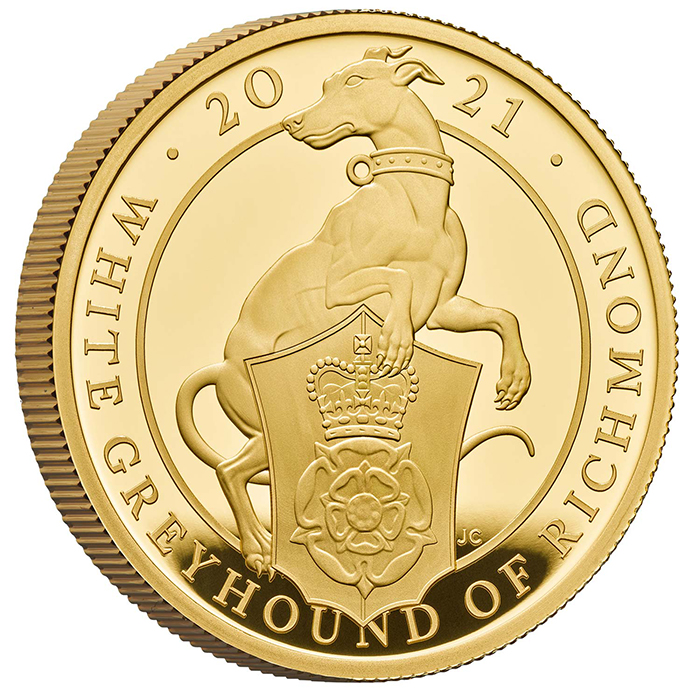 The Queen Beasts White Greyhound of Richmond 1 OZ Au Proof coin - zvìtšit obrázek