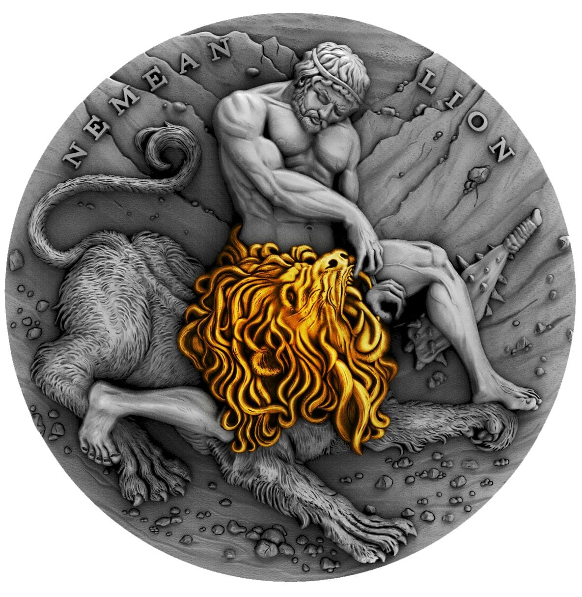 Nemean lion - 12 úkolù Herkula - 2 Oz silver coin - NIUE 2018 - zvìtšit obrázek