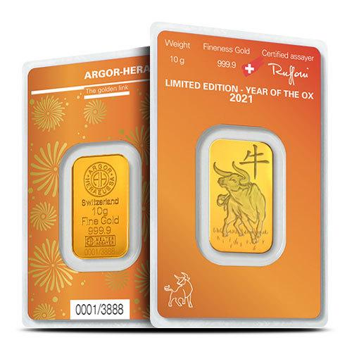 Argor-Heraeus Goldbarren 10 g Ochse - zvìtšit obrázek