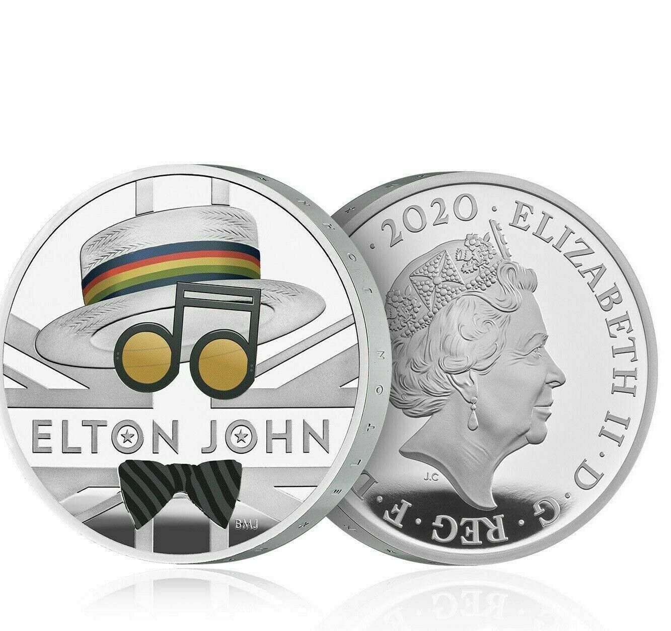 Støíbrná mince Elton John Music Legends 1 Oz Silver Coin proof 2 Pounds United Kingdom 2020 - zvìtšit obrázek