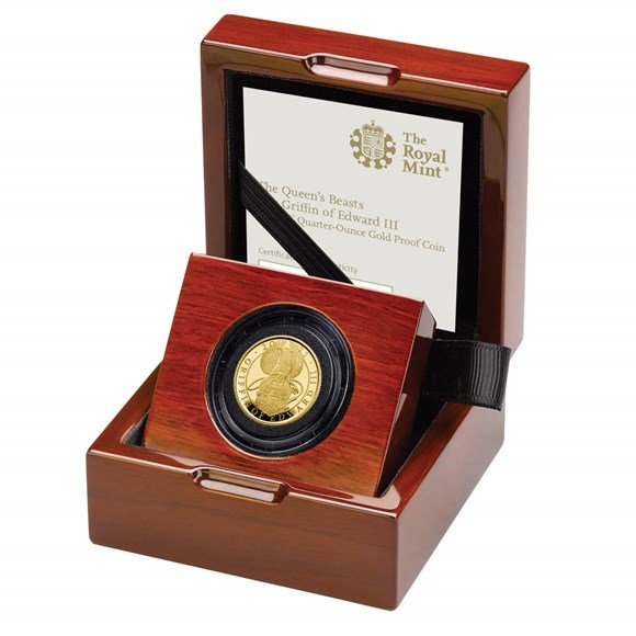 The Queens Beast - The Griffin of Edward III 1/4 Oz proof coin gold  - zvìtšit obrázek